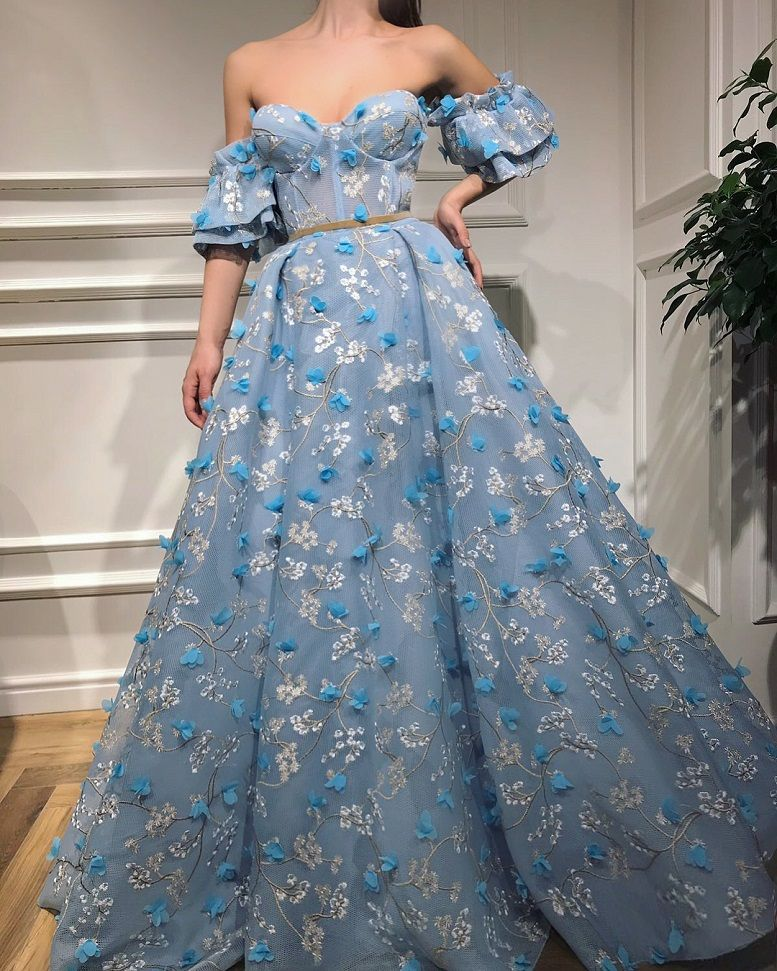 28 Prom Dresses That Will Make You The Prom Queen - light blue sweetheart neckline detachable sleeves a line ball gown dress #promdress #bluedress