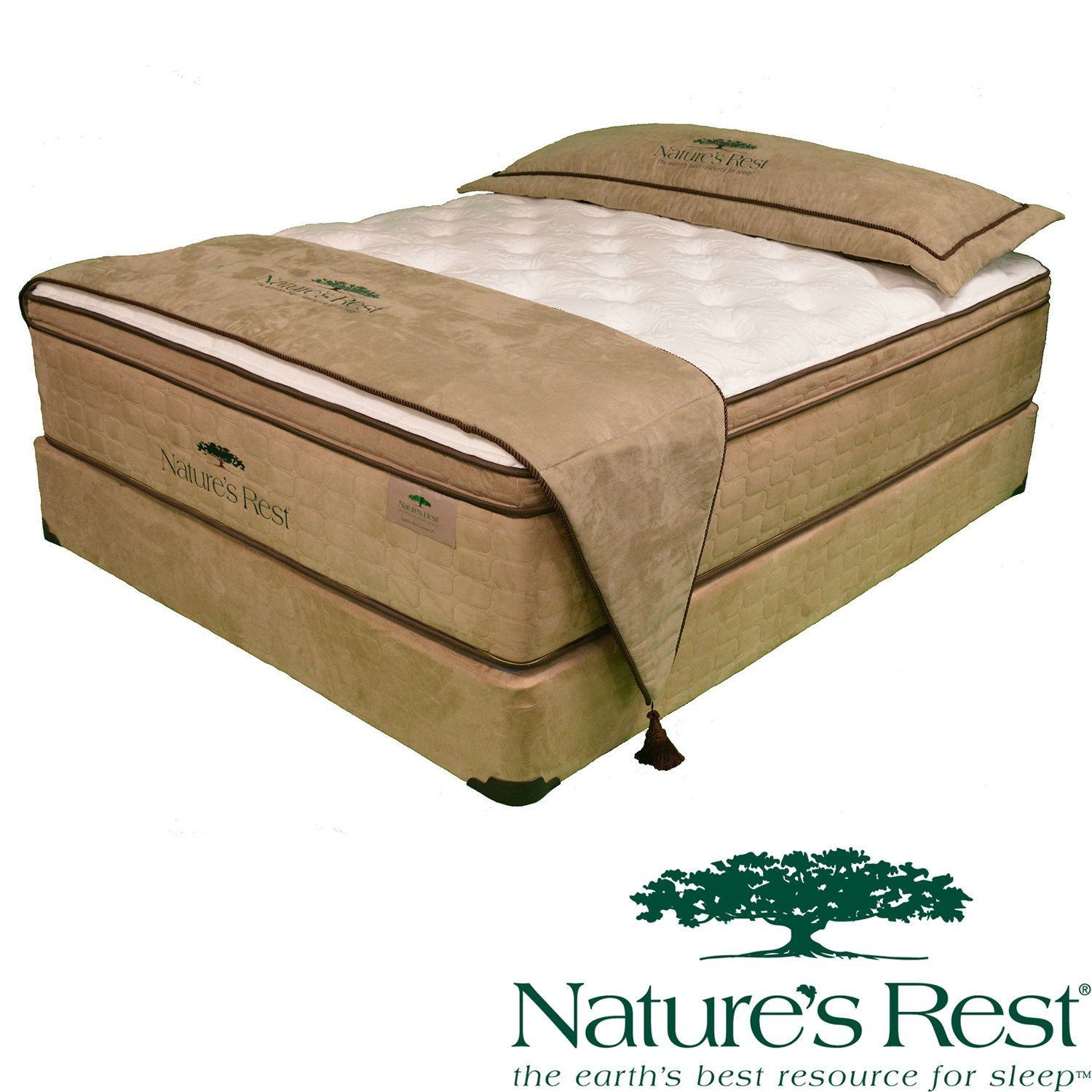 natures rest virtue luxury plush eurotop full size latex mattress