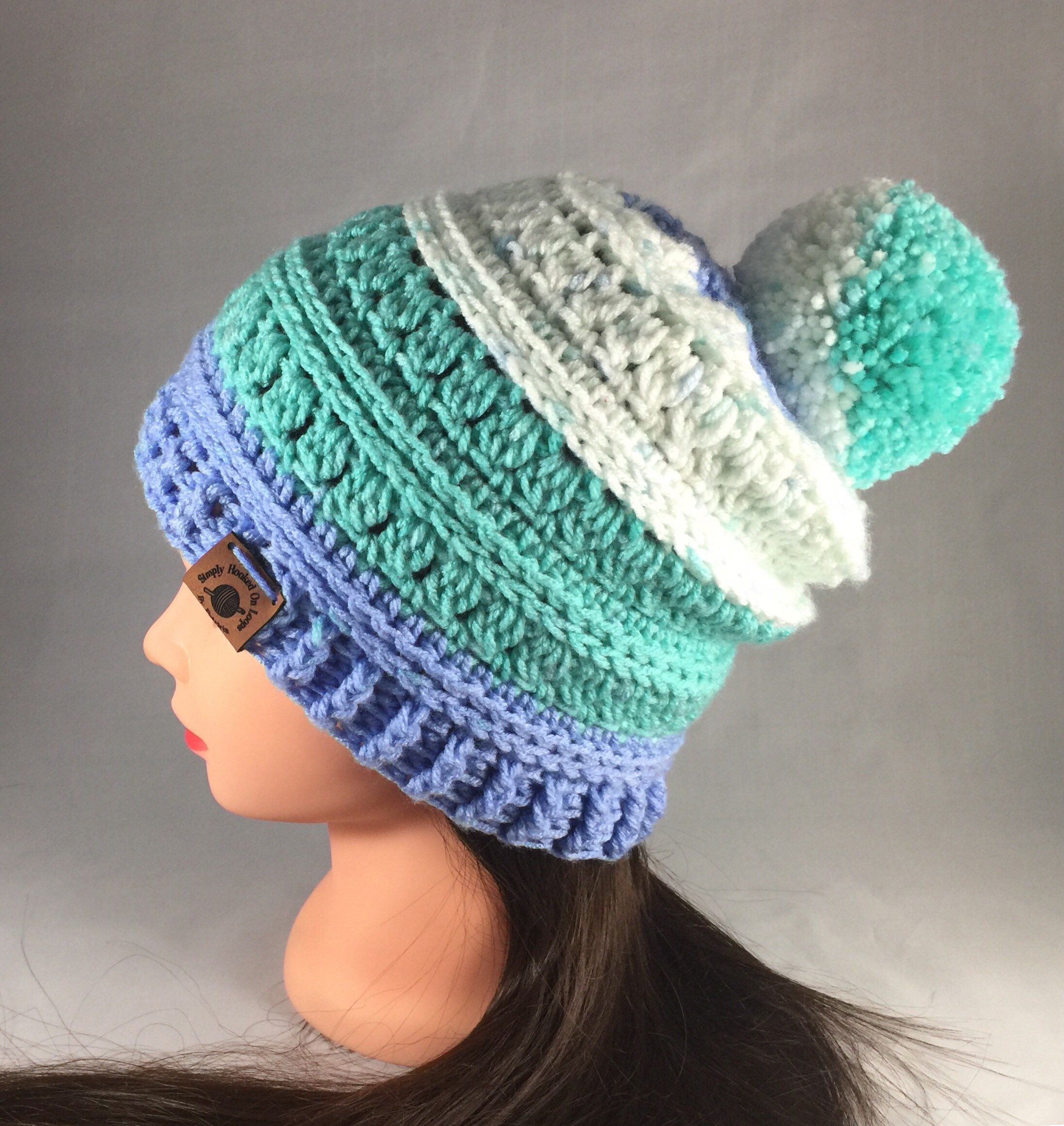 a903be56900 Excited to share this item from my  etsy shop  Blue Turquoise and White  Fall Winter Pom Pom Hat Beanie  accessories  hat  handmade  white   turquoise  green ...