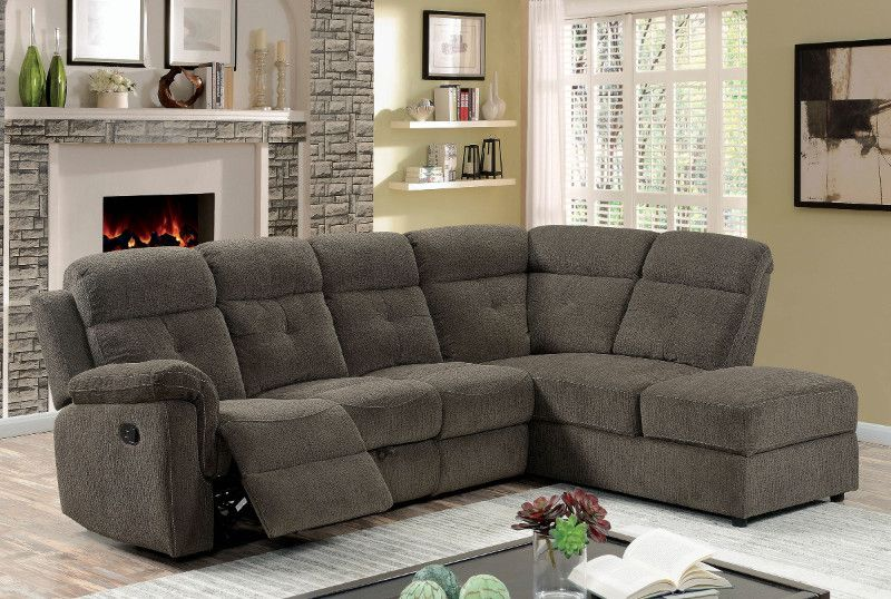 Simple Furniture of america CM6597 2 pc Avia gray linen like fabric sectional sofa with recliner Contemporary - Awesome Sectional Fabric sofas Trending