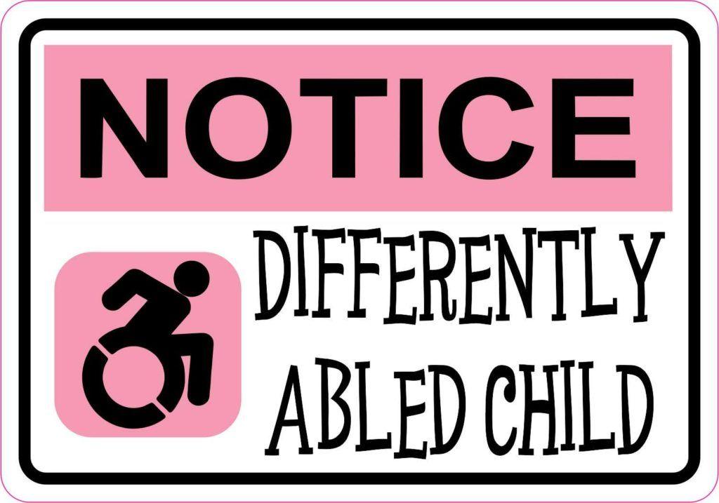 Stickertalk Pink Differently Abled Child Magnet 10 Inches X 3 Inches In 2020 Vinyl Sticker Disabled Children Vinyl