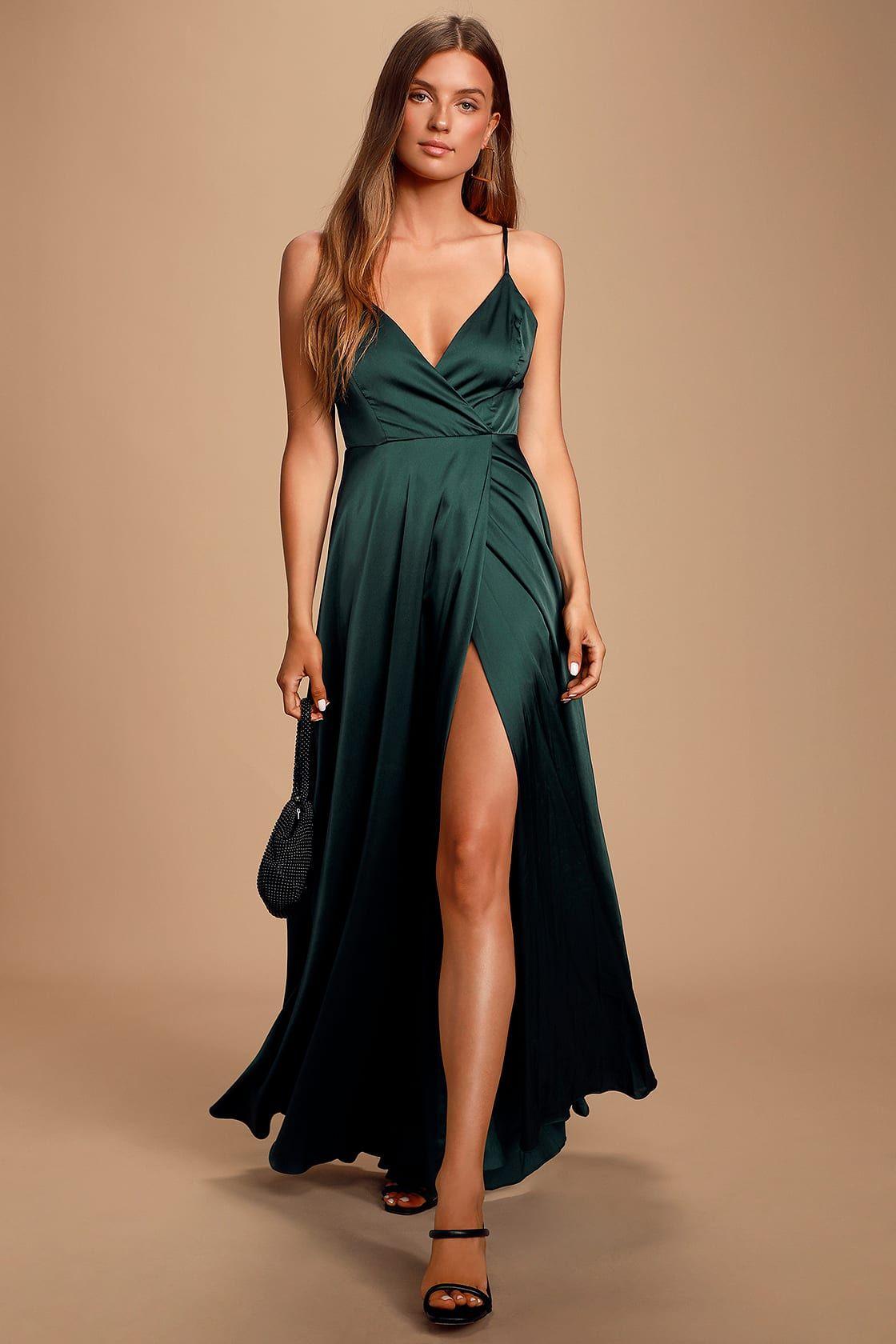 Ode To Love Emerald Green Satin Maxi Dress