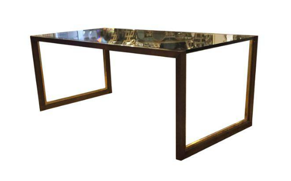 Mid Century Brass and Glass Coffee Table