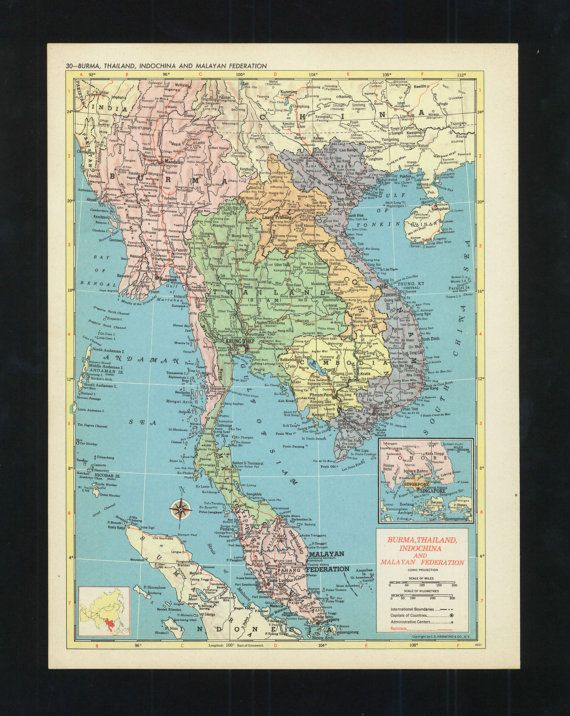 Vintage Map Thailand Burma Malaysia From 1953 Original
