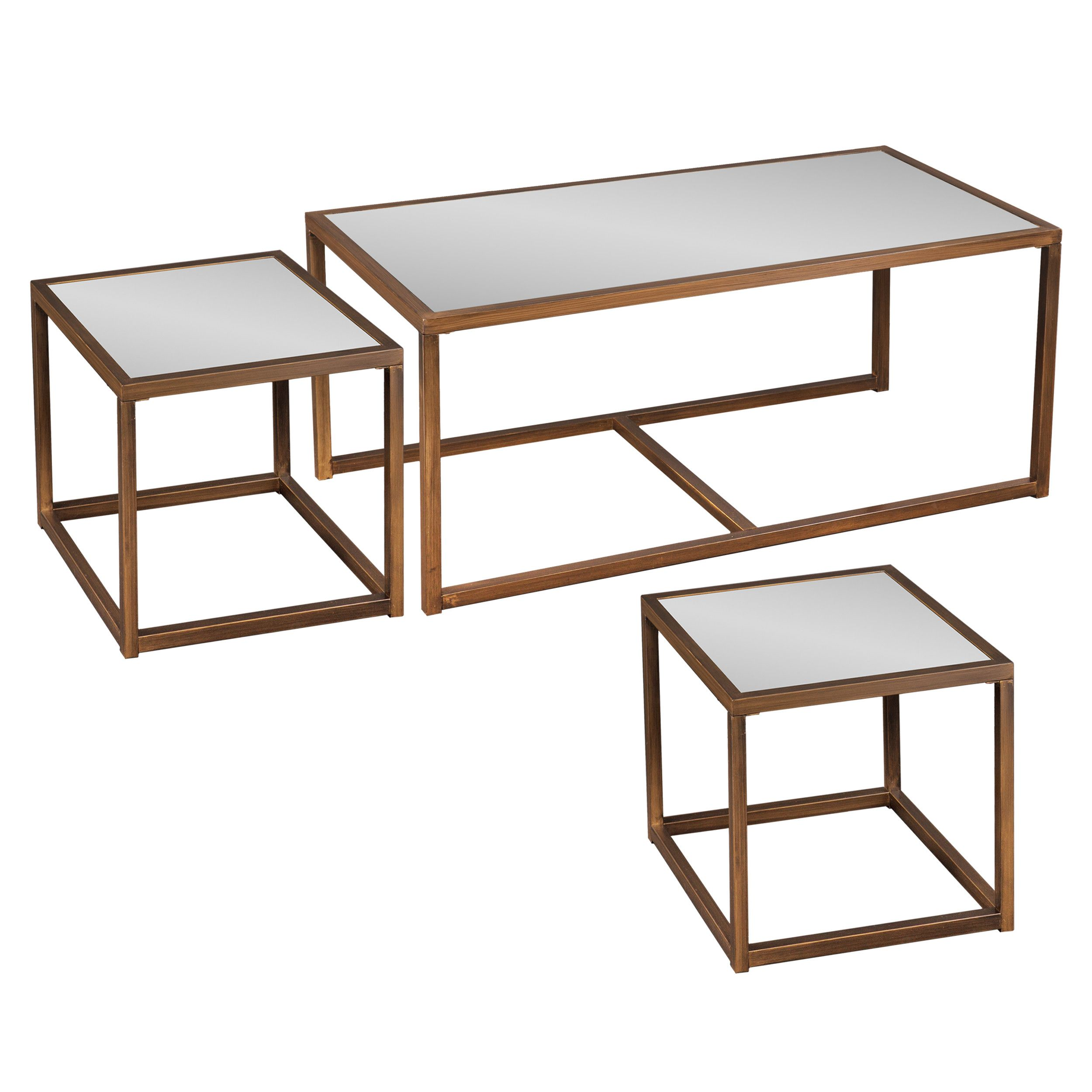 House of Hampton Hardy Coffee Table with Nested Stools
