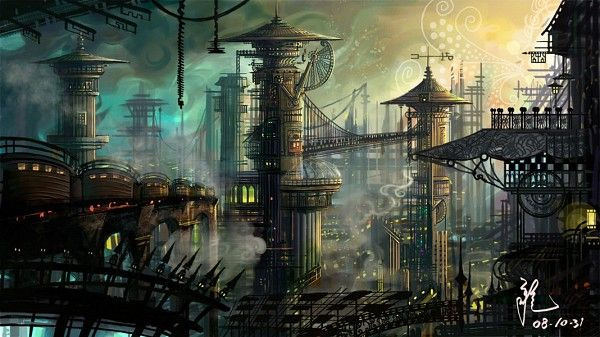 Tags: Anime, City, Steampunk, Scenery, No People, Signature, Pixiv Id 699973 #ContesDefaits /// Ville d'Asie ?