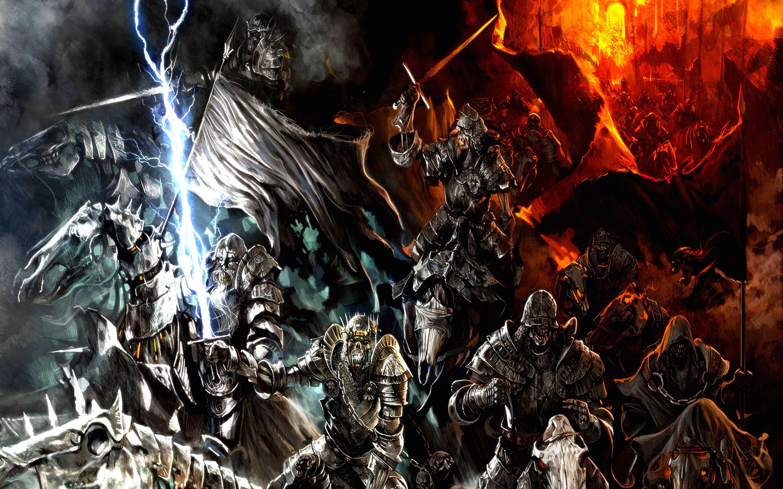 Fantasy Battle Fire Dark Warrior Epic Wallpaper