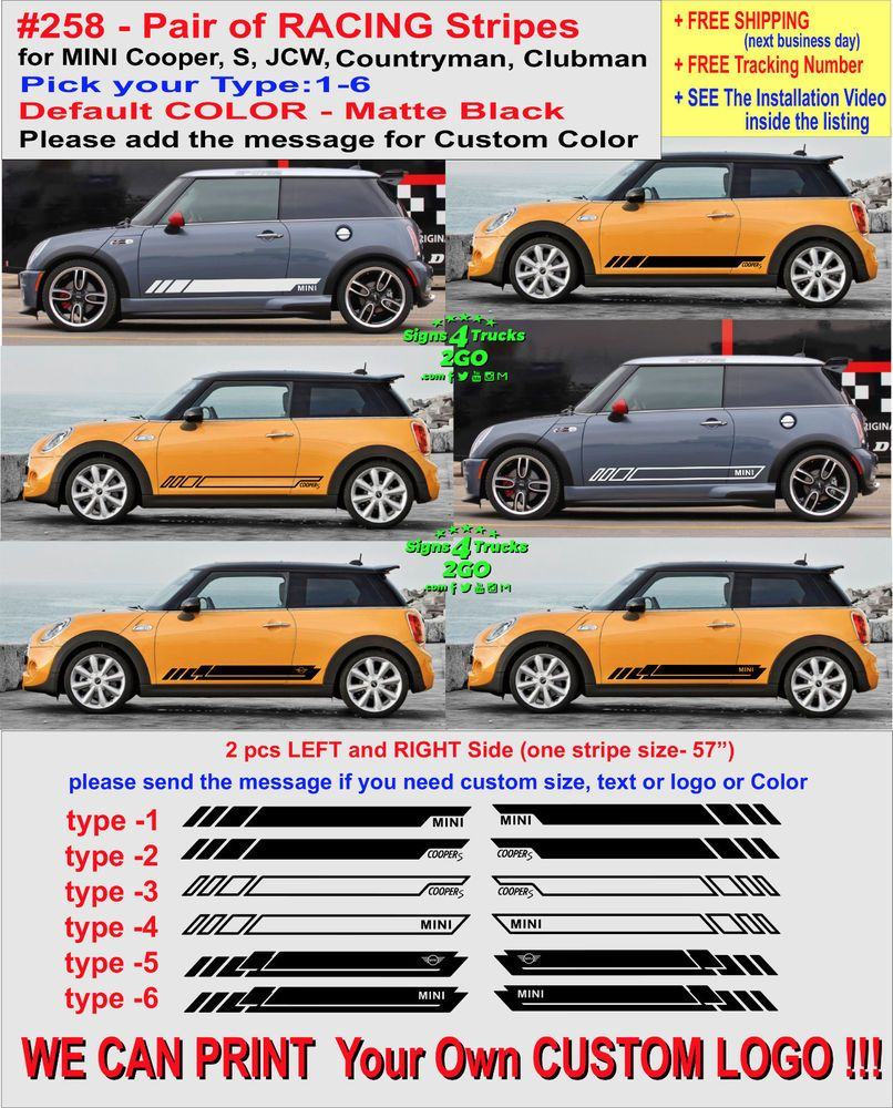 Details About 0258 Racing Stripes Vinyl Decal Side Mini Cooper S