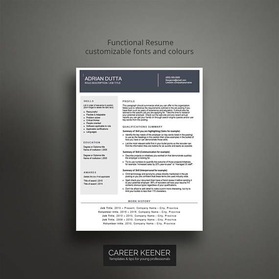 Creative resume template / cv template Functional resume, cover