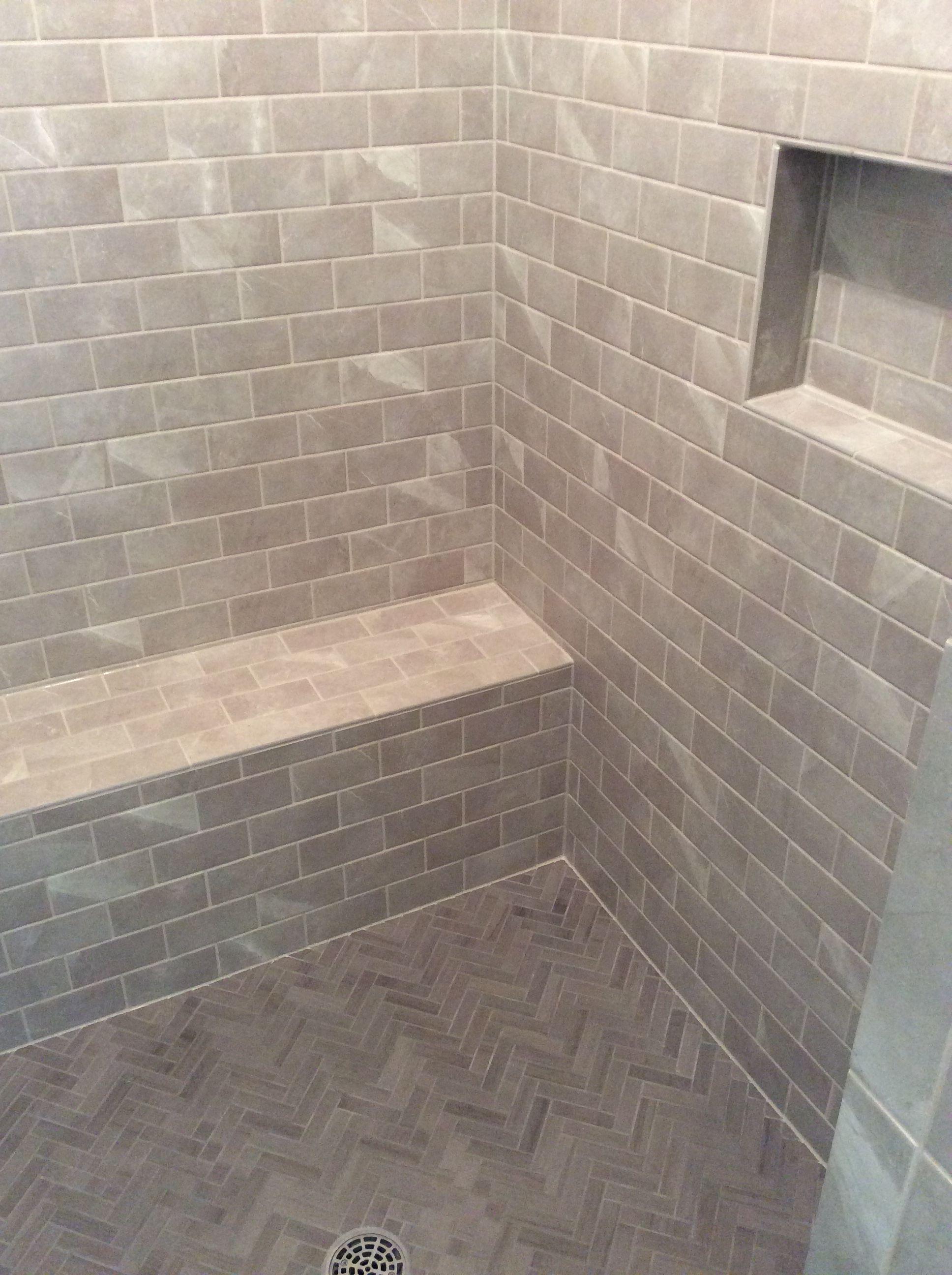 Walk In Shower With Bench Seat Herringbone Floor Grey Toned Tile