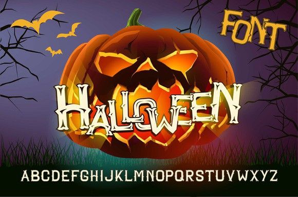 Halloween font with evil pumpkin. Poster Templates. $7.00