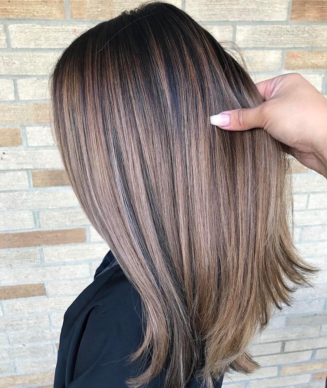 Braun mittellange haare Haarfarbe Braun