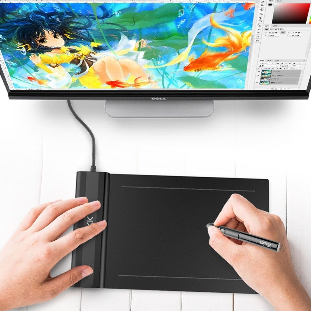"VEIKK S640 Digital Graphic Drawing Tablet  6x4/"" 5080 LPI 8192 PassivePen for OSU"
