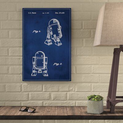 Photo of 17 Stories 'Star Wars R2D2 Patent' Graphic Art Print in Blue Size: 24″ H x 16″ W, Format: Canvas