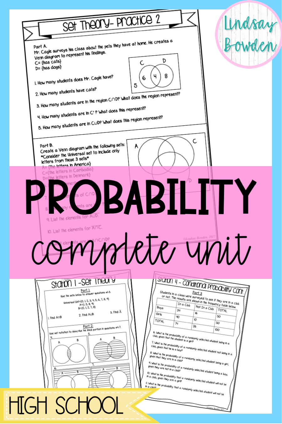 Probability Unit Bundle Probability Worksheets Reading Skills Worksheets Conditional Probability