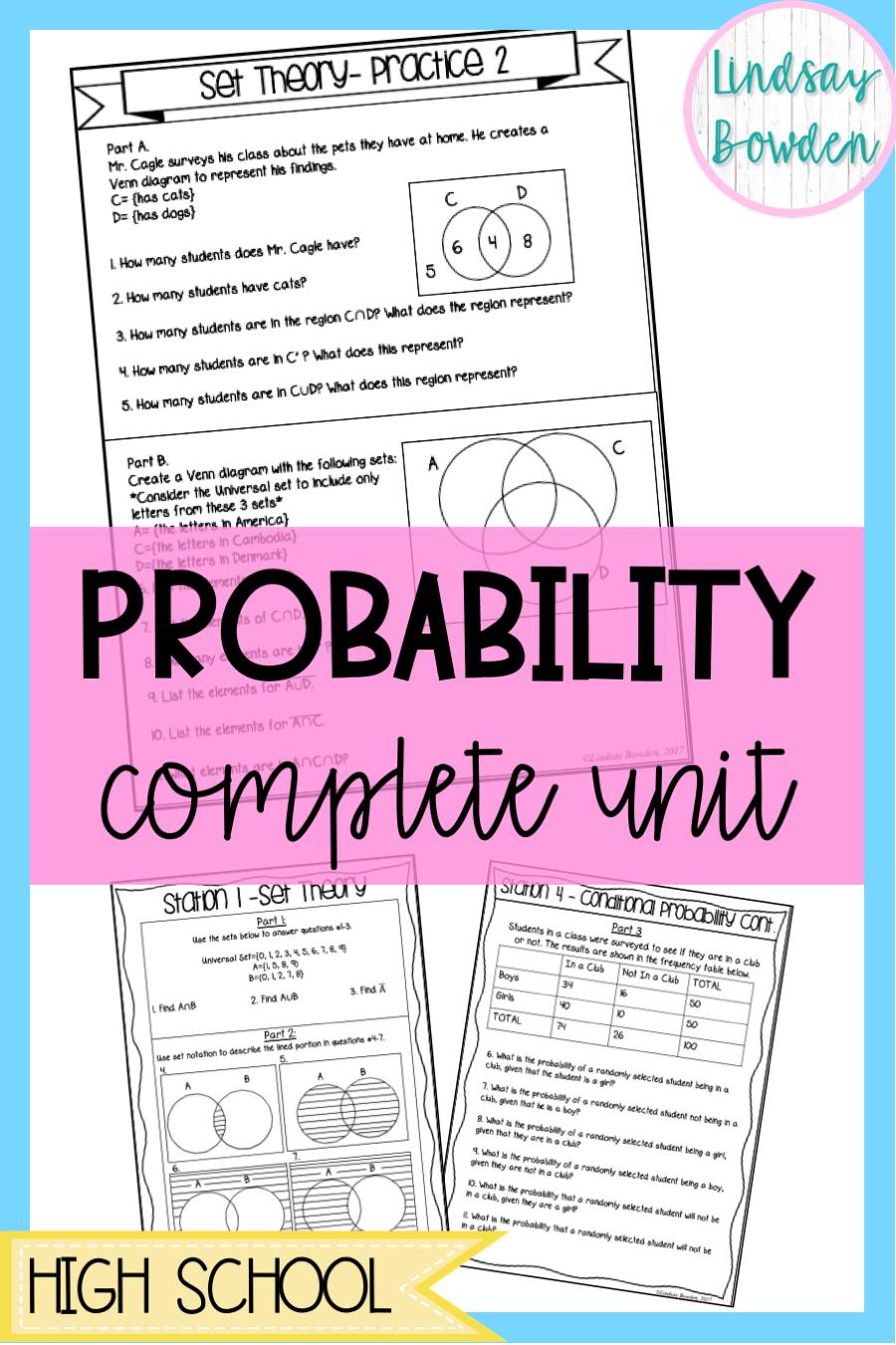 Probability Unit Bundle Probability Worksheets Reading Skills Worksheets Conditional Probability