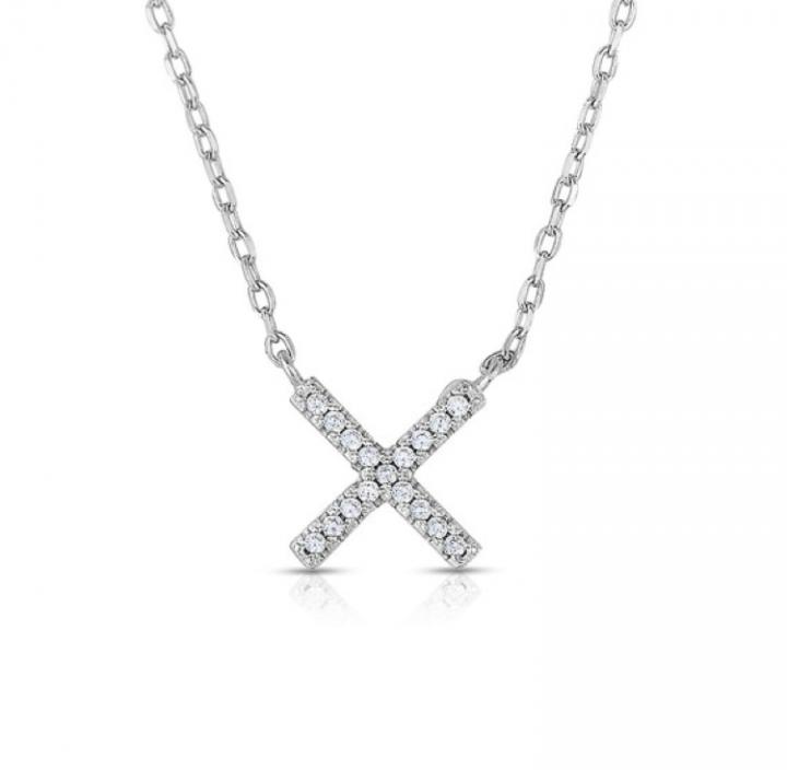 Women s Sterling Silver Mini CZ X Design Pendant Necklace