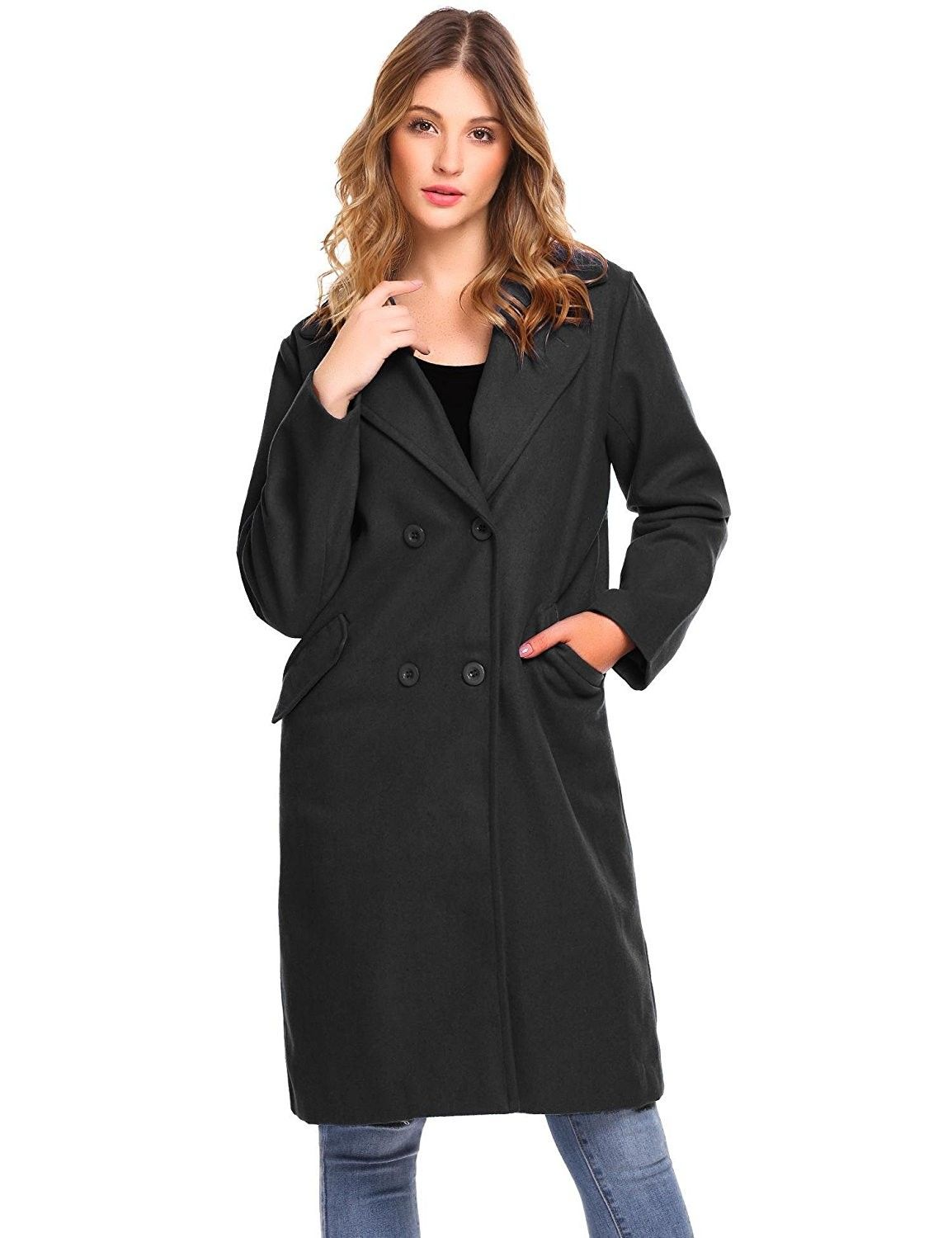 f386df047f Women's Clothing, Coats, Jackets & Vests, Wool & Pea Coats,Womens Warm  Lapel Double-Breasted Solid Casual Loose Fit Long Wool Blend Coat - Black  ...
