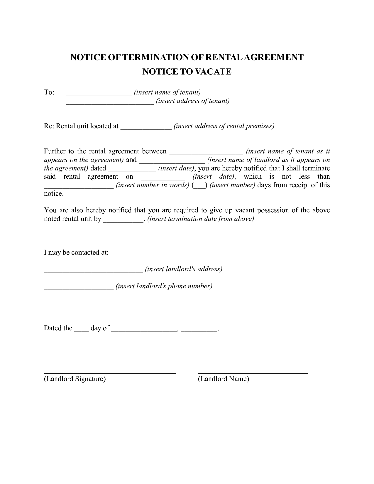 Sample Letter Termination Lease Agreement Tenant Cancellation