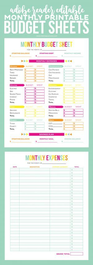 Editable Budget Worksheets Pinterest Printable budget sheets