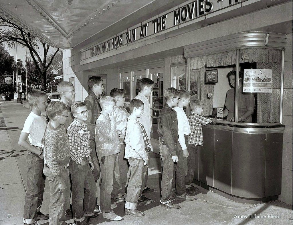 Image result for saturday movie matinee 1950s kids