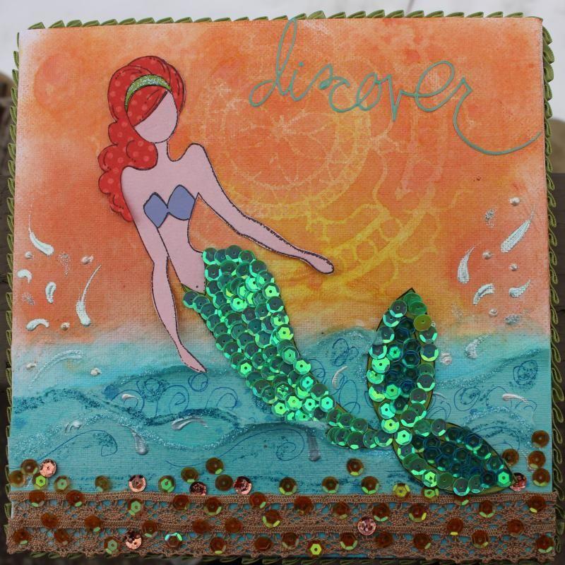 Stamp Cravings: Mermaid Mixed Media Canvas