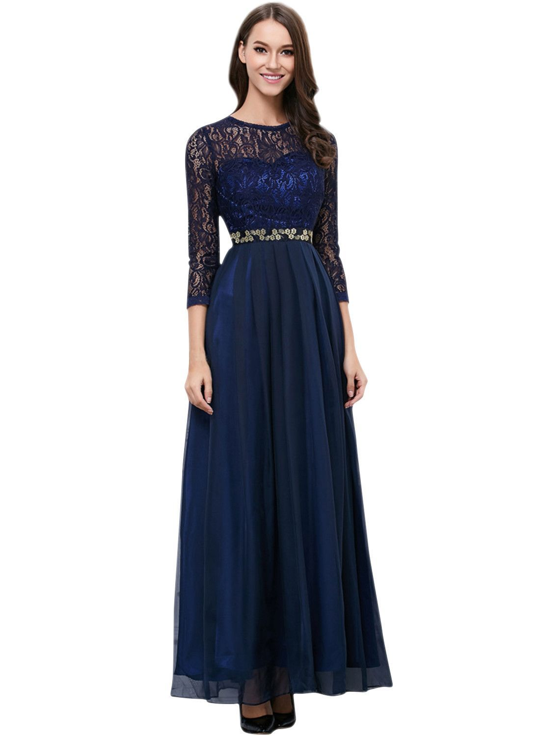 Floral lace paneled round neck sleeve prom dress products