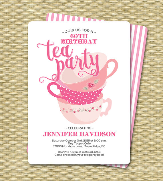 Birthday Tea Party Invitations Birthday Tea Party Invitation