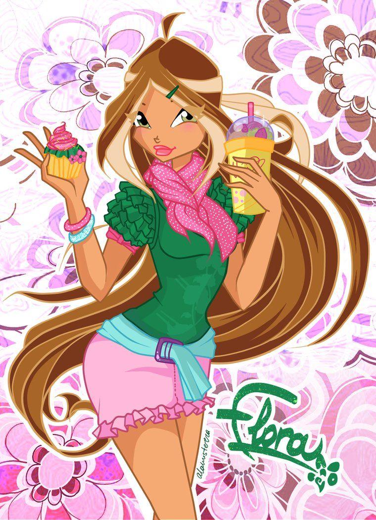 Flora Cafe Style Dibujos, Muñecas para dibujar, Winx club