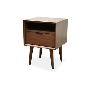Asta Sq Wooden Bedside Table Walnut
