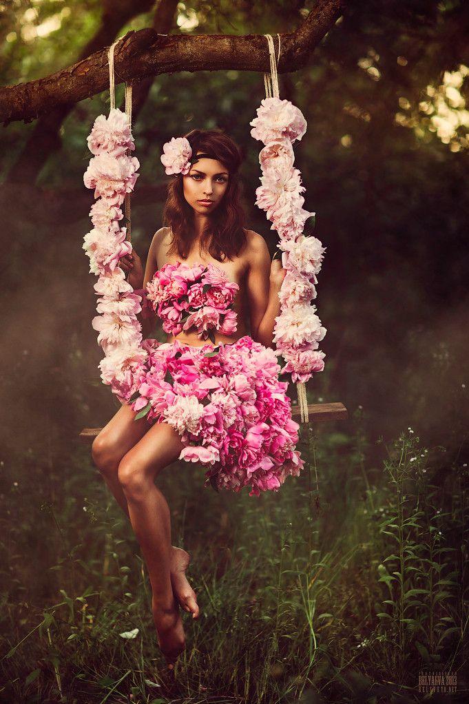 секс девушкой, идеи фотосессии в цветочном платье экстравагантный