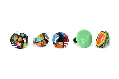 Colourful juicy rings Ernesto de Barcelona. Trendy jewelry. Multicolours. Jewlry from Spain. Designer jewelry