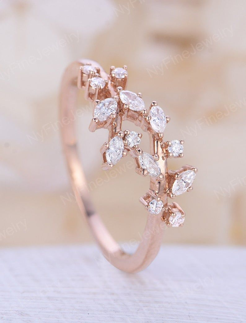 Vintage Cluster Diamant Verlobungsring Rose gold Hochzeit Ring | Etsy