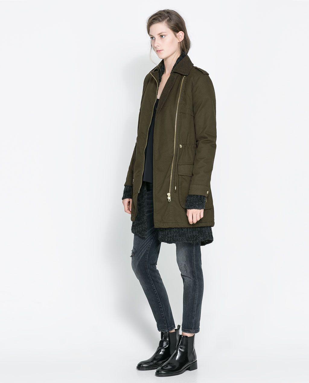 COTTON CROSSOVER PARKA from Zara