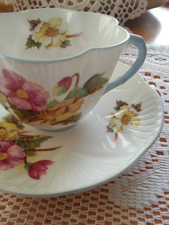 Vintage Shelley Dainty Teacup, Begonia Pattern, Light blue handle, Made in England, Pattern#13427