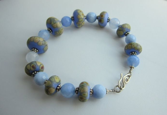 Bracelet - lace agate, lampwork and sterling silver
