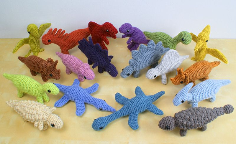 Free Dinosaur Knitting Pattern : 18 dinosaur amigurumi crochet patterns by PlanetJune Crochet Amigurumi Pi...