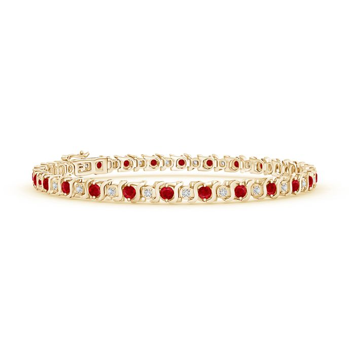Angara S Curl Natural Ruby and Diamond Tennis Bracelet in 14k Yellow Gold wqkBR