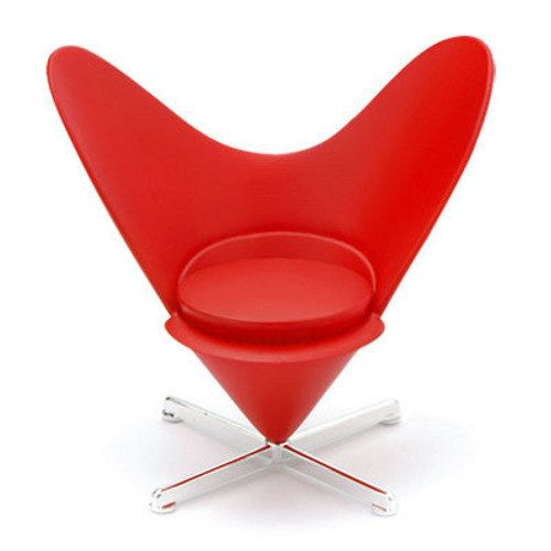 REC009 Dollhouse Miniature Reac Modern Red Heart Cone Chair