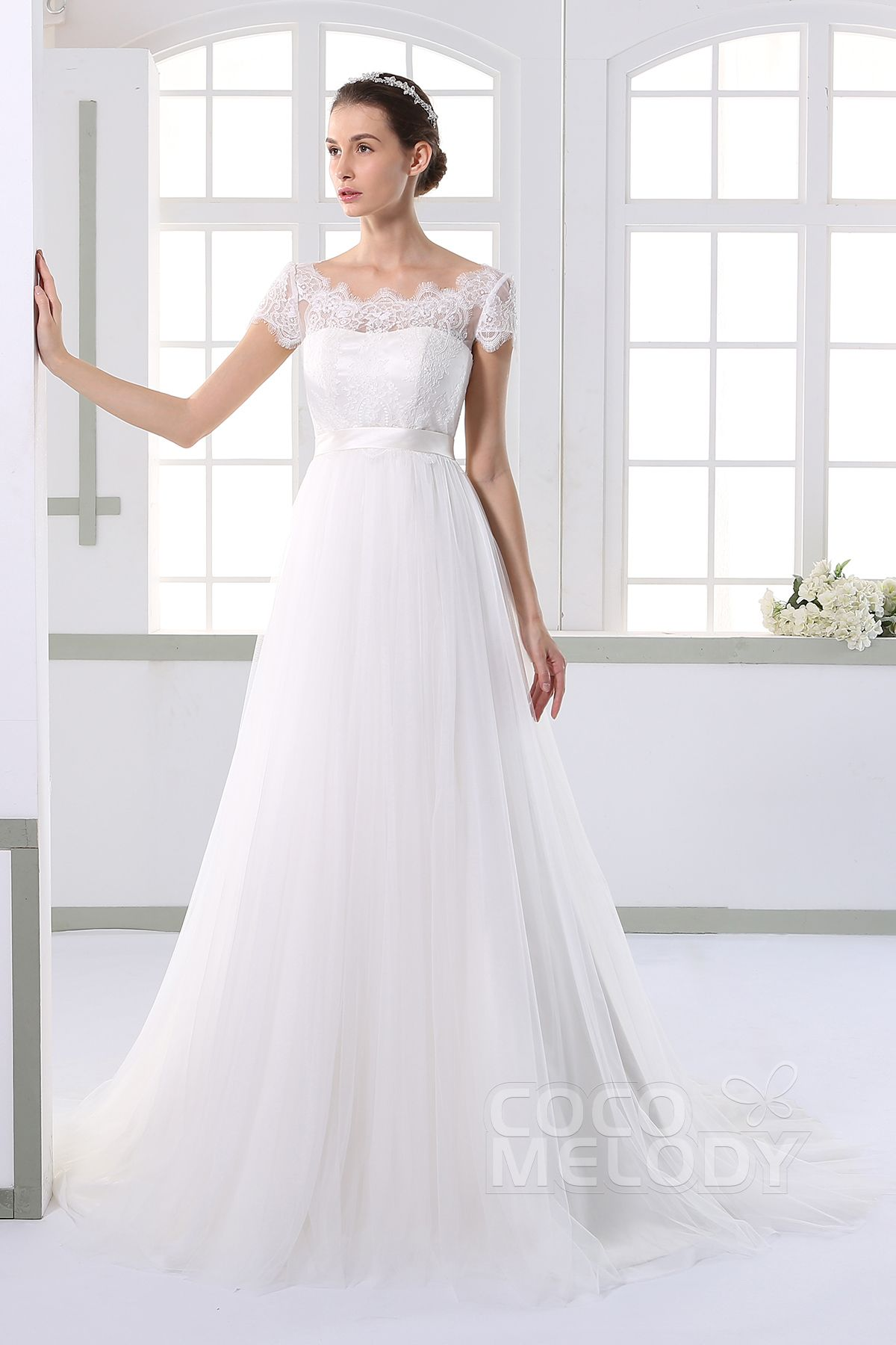 Timeless aline illusion natural court train tulle and lace ivory