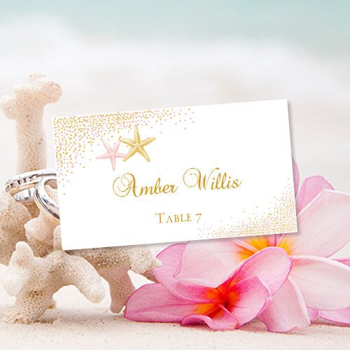 Printable Place Card Confetti Starfish Blush Pink And Gold Template Print Wedding Escort Cards Make Your Own DIY You