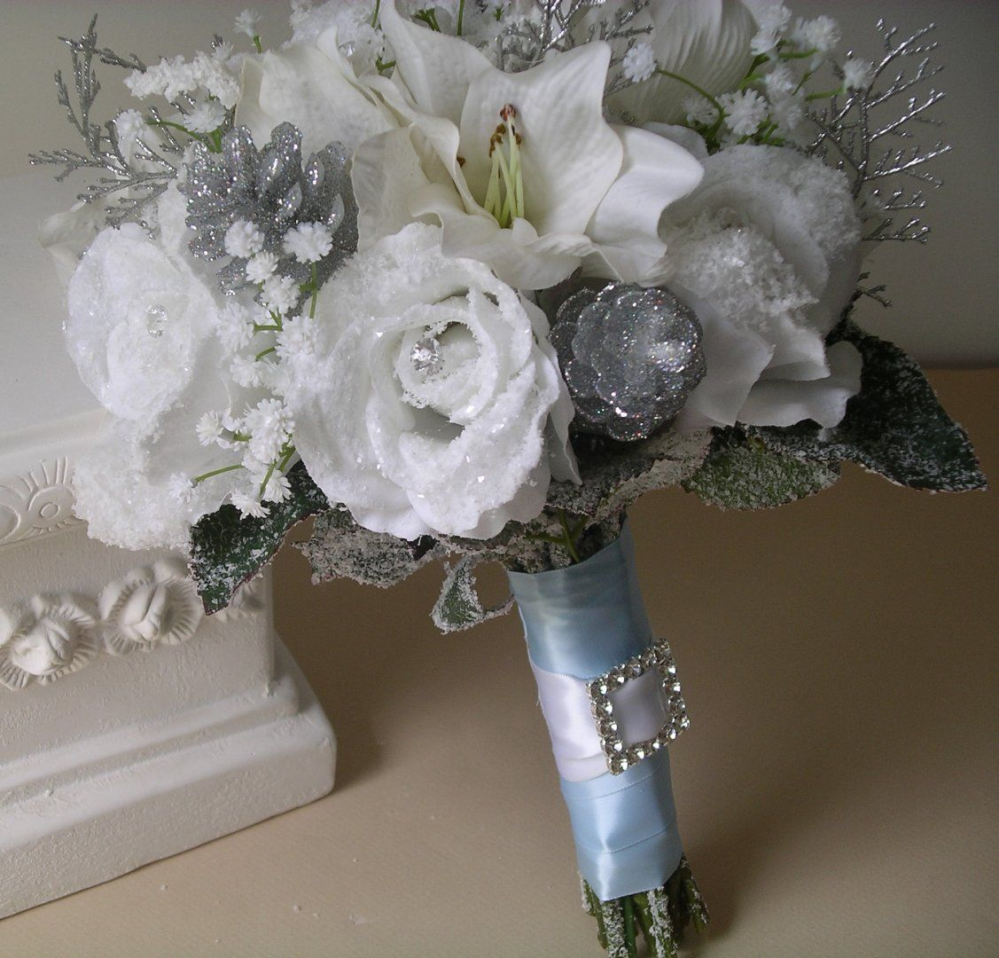 Silver Gray Wedding Bouquets Silk wedding flowers Winter
