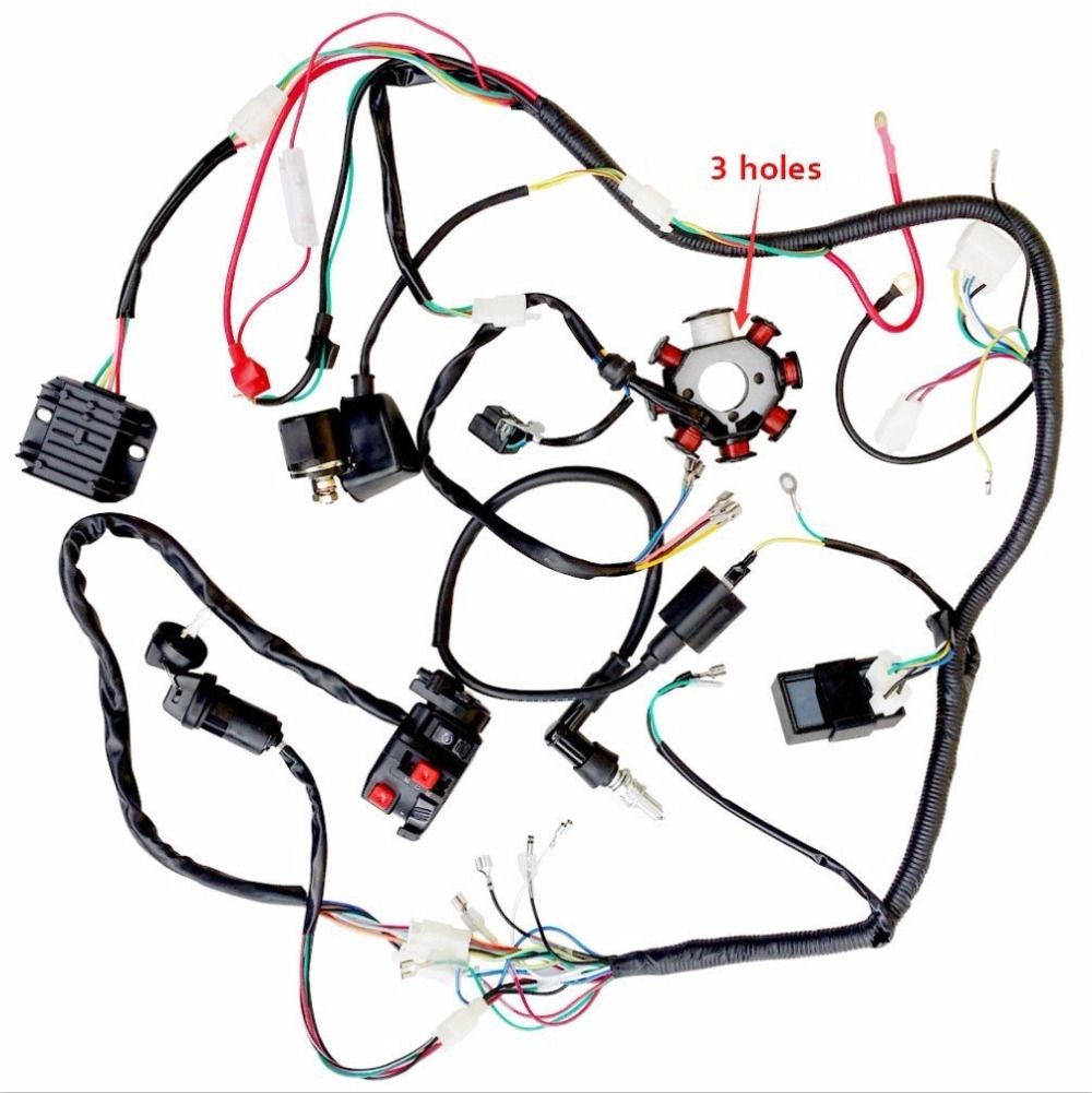 Mymotor Complete Wiring Harness Kit Wire Loom Electrics Stator Coil Auto Kits Cdi For 150cc 300cc Atv Quad 4 Four Wheelers Go Kart Dirt