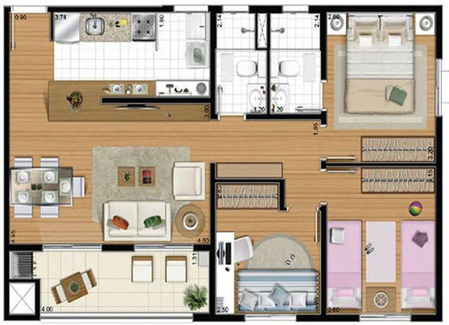 70m2 google planos pinterest planos for Decoracion casas 70m2