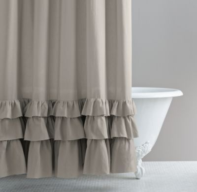 Frayed Ruffle Shower Curtain Ruffle Shower Curtains Curtains Extra Bedroom