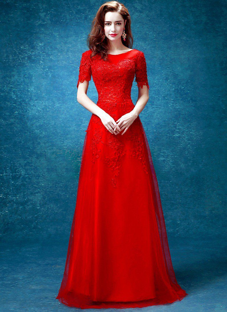 Elegant red full length chinese wedding dress evening gown with lace