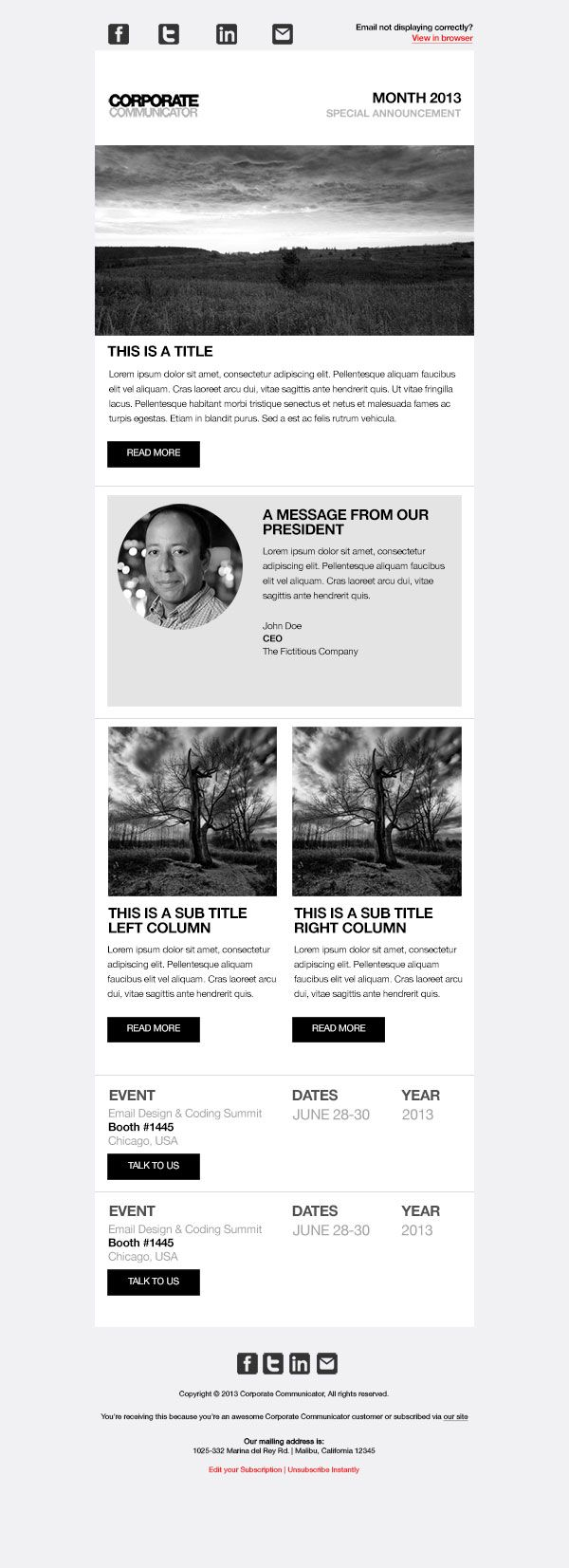 Responsive email template designed to work in Campaign Monitor and ...