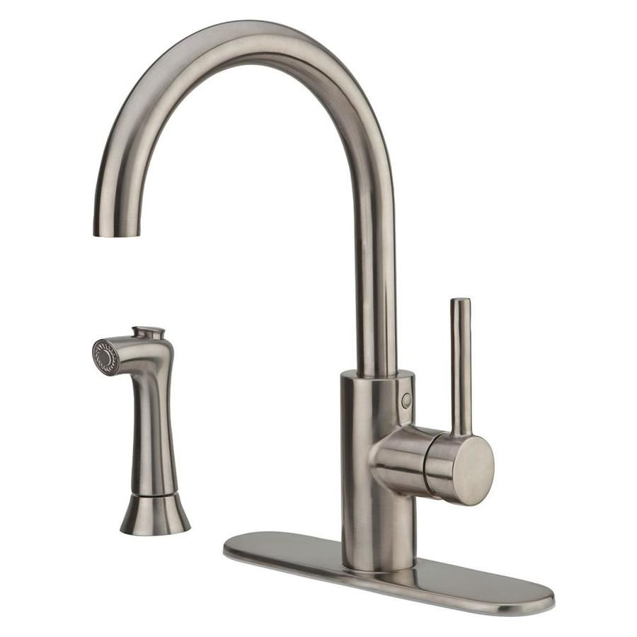 Photo of Pfister Solo Pfister Stainless Steel 1-Handle Deck Mount High-Arc Residential Kitchen Faucet Lf-029-4Sls