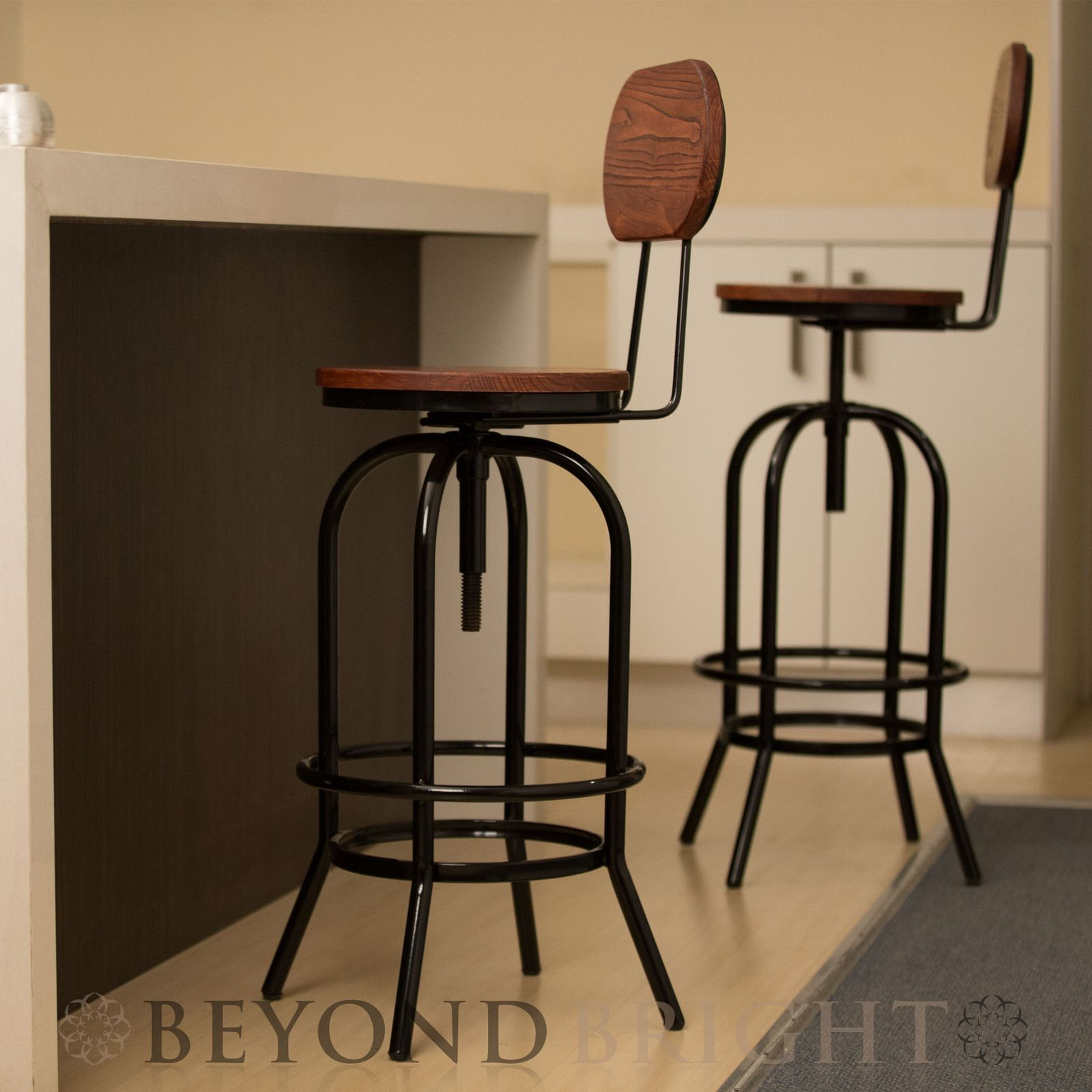 2 X Ari Bar Stool With Removable Back Rest Black Industrial