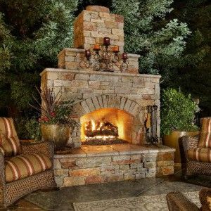 Freestanding Wood Burning Fireplace Cement Block Clad With Real